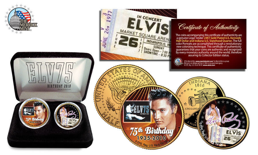 "ELVIS PRESLEY ""75TH"" BIRTHDAY 24KT GOLD KENNEDY HALF DOLLAR & INDIANA QUARTER!"