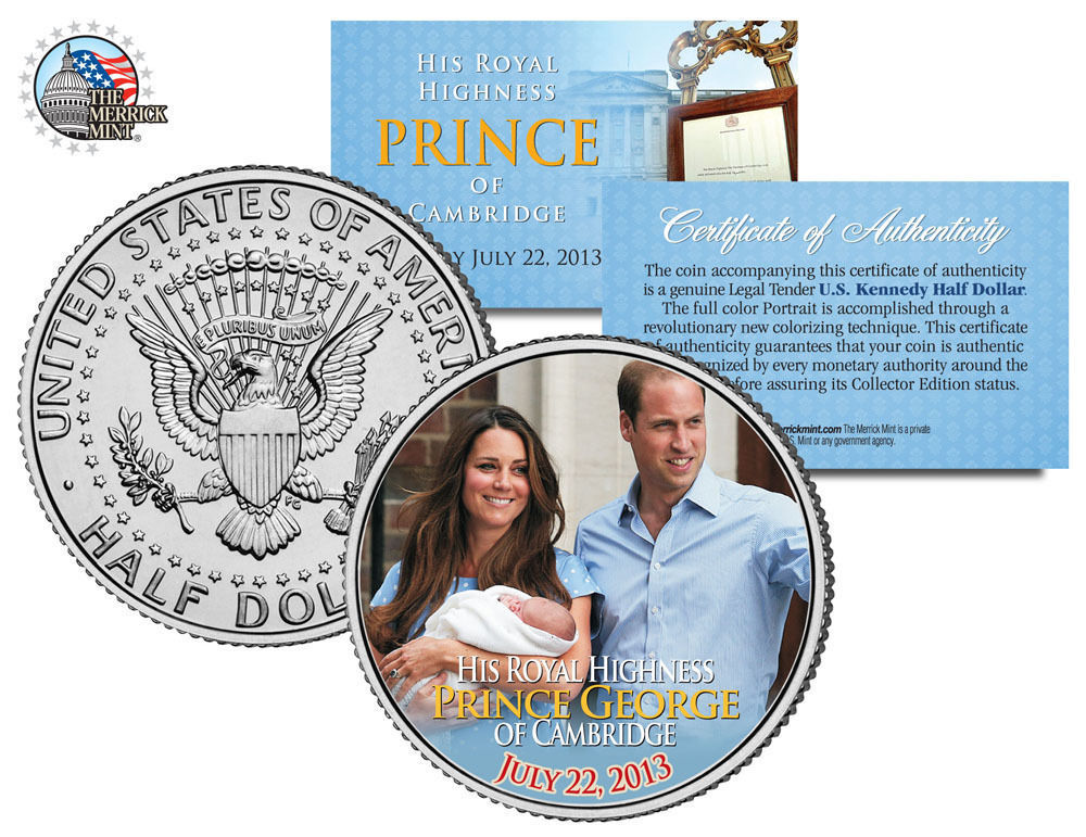 ROYAL BABY *Prince George of Cambridge* Genuine Legal Tender U.S $2 Bill w//COA