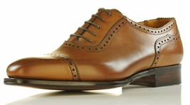 NEW HANDMADE OXFORD BROGUE STYLE SHOES, MENS CUSTOM SIZE TAN COLOR DRESS... - $159.99