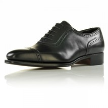 Handmade Oxford Brogue Style Shoes, Men Dress Shoes, Black Fashion Leather Shoes - $149.99