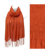Scarf Lightweight Rust Orange Sheer Wrap Tassels Fashion Accessory - $16.82