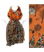 Scarf Orange Wrap Animals Nature Print Fashion Accessory - $17.57