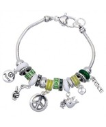 Charm Bracelet Peace Sign 60s Inspired Green Beads Silver Plate - $16.35