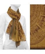 Scarf Nature Circle Animal Print Wrap Camel & Brown Fashion Accessory - $17.57