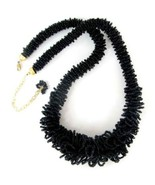 Necklace Black Glass Seed Beads Victorian Style Hand Beaded Quality Strand - $19.10