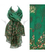 Scarf Green Wrap Animals Nature Print Fashion Accessory - $17.57