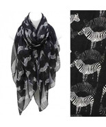 Scarf Zebra Pattern Black White Wide Shawl Soft Wrap Lightweight Pareo - $18.93