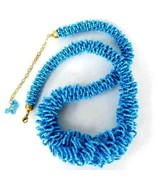 Necklace Turquoise Blue Glass Seed Beads Victorian Style Hand Beaded Strand - $19.10
