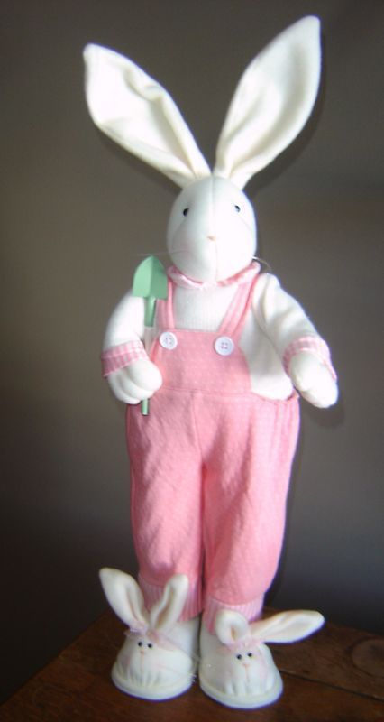 "26"" Tall Soft Pink Bunny with Bunny Slippers"