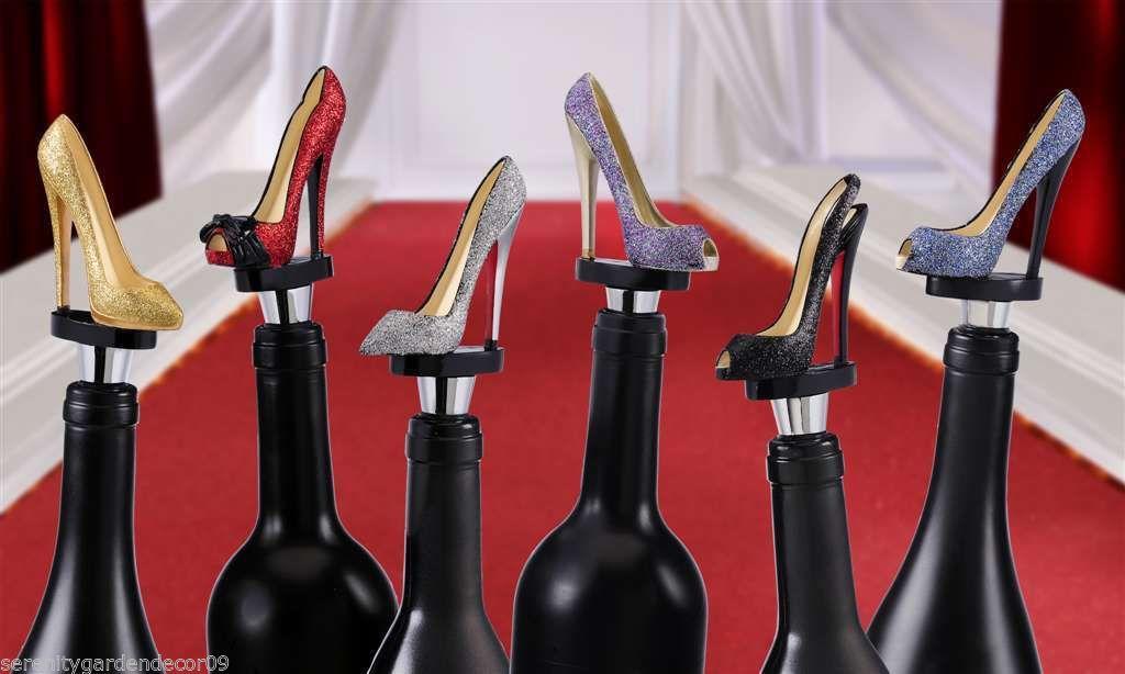 Set of 6 Glitter Sparkle Stiletto Shoe Wine Bottle Stoppers Polyresin NEW