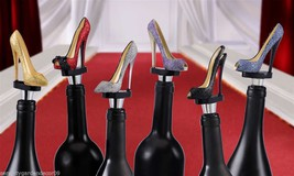 Set of 6 Glitter Sparkle Stiletto Shoe Wine Bottle Stoppers Polyresin NEW