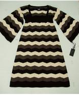 Ezekiel Aspen Sweater Dress S Chevron Empire Waist Cotton Black/Vanilla ... - $34.95