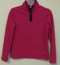 Girls Old Navy Pink with White Dots Navy Blue Trim Long Sleeve Fleece To... - $6.95