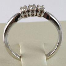 WHITE GOLD RING 750 18K, TRILOGY 3 DIAMONDS CARAT TOTAL 0.20, STEM SQUARE image 4