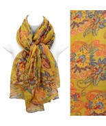 Scarf Antique Floral Yellow Gold Flowers Soft Wrap Fashion Accessory - $17.57