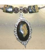 Serpentine and Jade Necklace with Eclipse Stone Pendant - $105.00