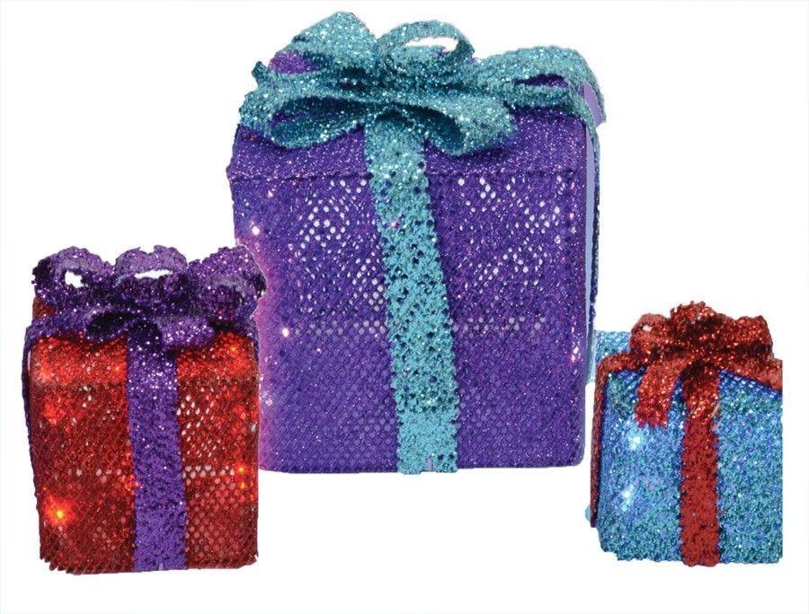 MESH GIFT BOXES 3 BOXES CHRISTMAS PROP Cool Garden Yard Village Decor Light Show