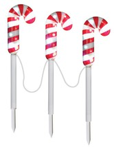 GEMMY PATHWAY STAKES S/3 SPARKLE CANDY CANE PROP CHRISTMAS DECOR Yard Vi... - €31,71 EUR