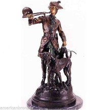 Hunter with Horn and Hounds Solid Lost Wax Bronze Statue Sculpture by Mo... - $2,015.00