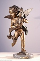 """""""Angel With Dolphin"""" Solid American Lost Wax Bronze Cherub Statue by A. Moreau - $852.00"""