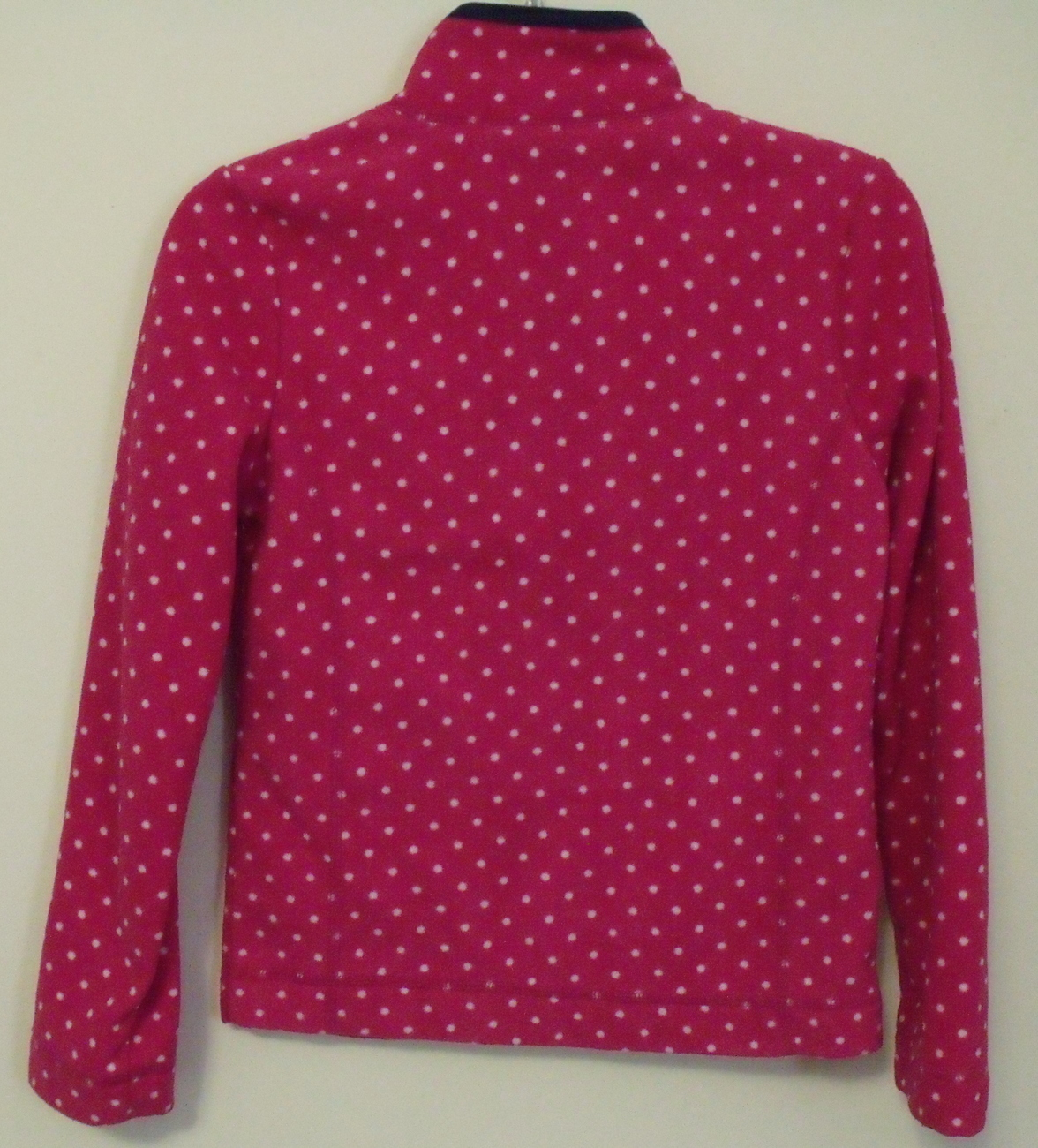 Girls Old Navy Pink with White Dots Navy Blue Trim Long Sleeve Fleece Top Size M