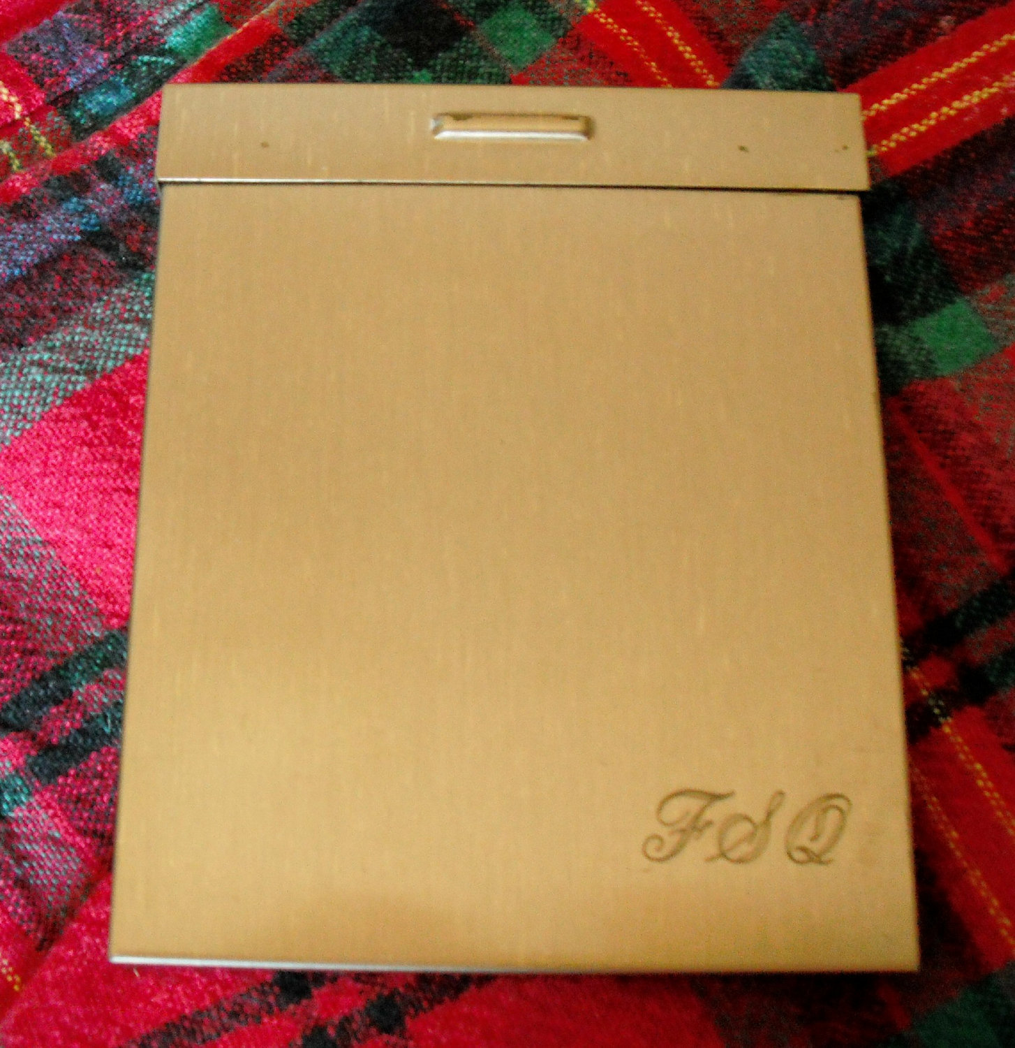 CIGARETTE CASE - Vintage Brushtone Brass - MONOGRAMMED Accessory for Men or Wome