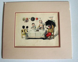 Studying the Menu: Golliwogg Print by F. K. Upton (Copyright 1896) Matted  - $39.99