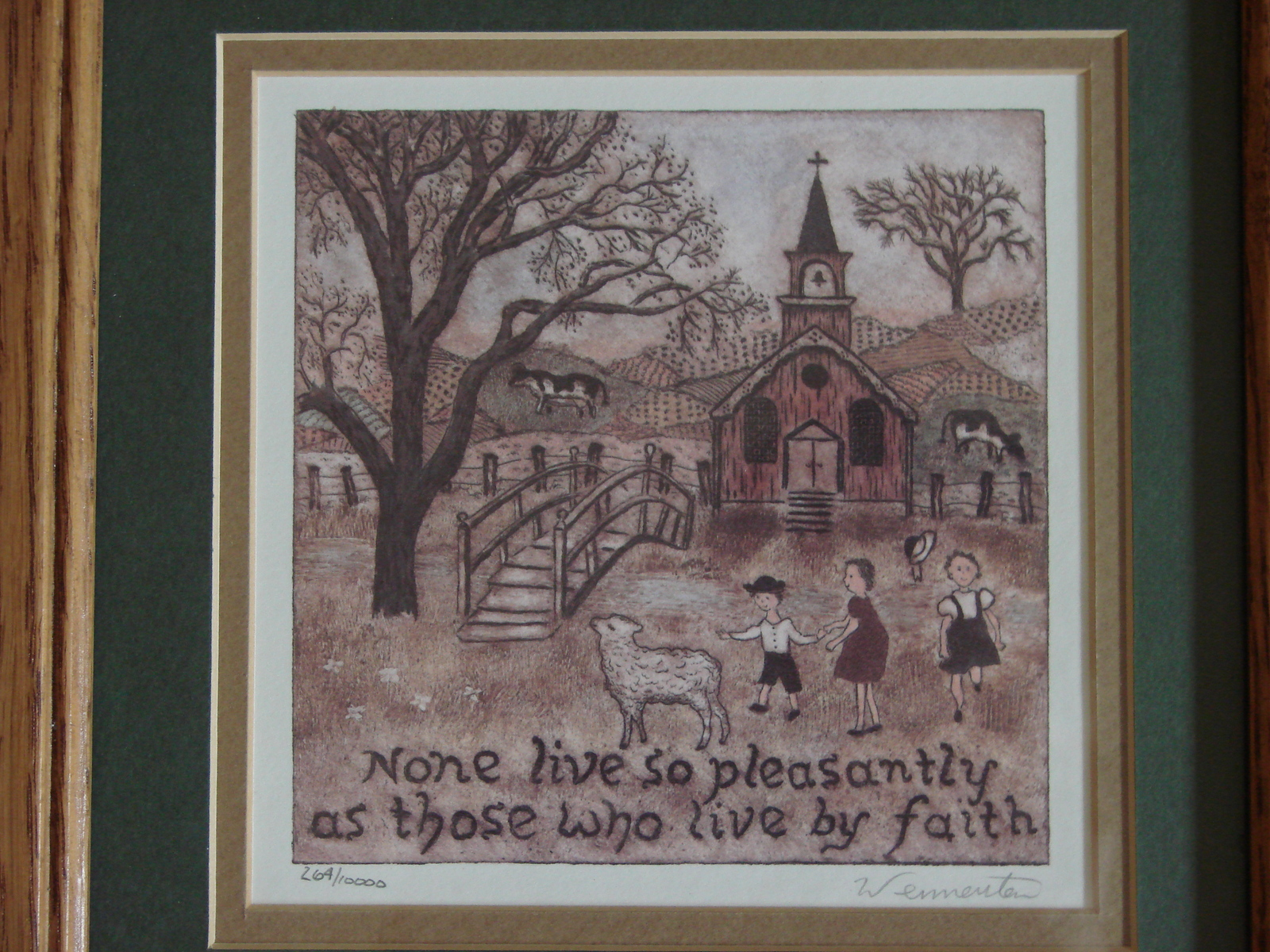 "Primary image for Matted, Framed Ltd. Ed. Calligraphy, ""None Live So Pleasantly..."" Print Signed b"