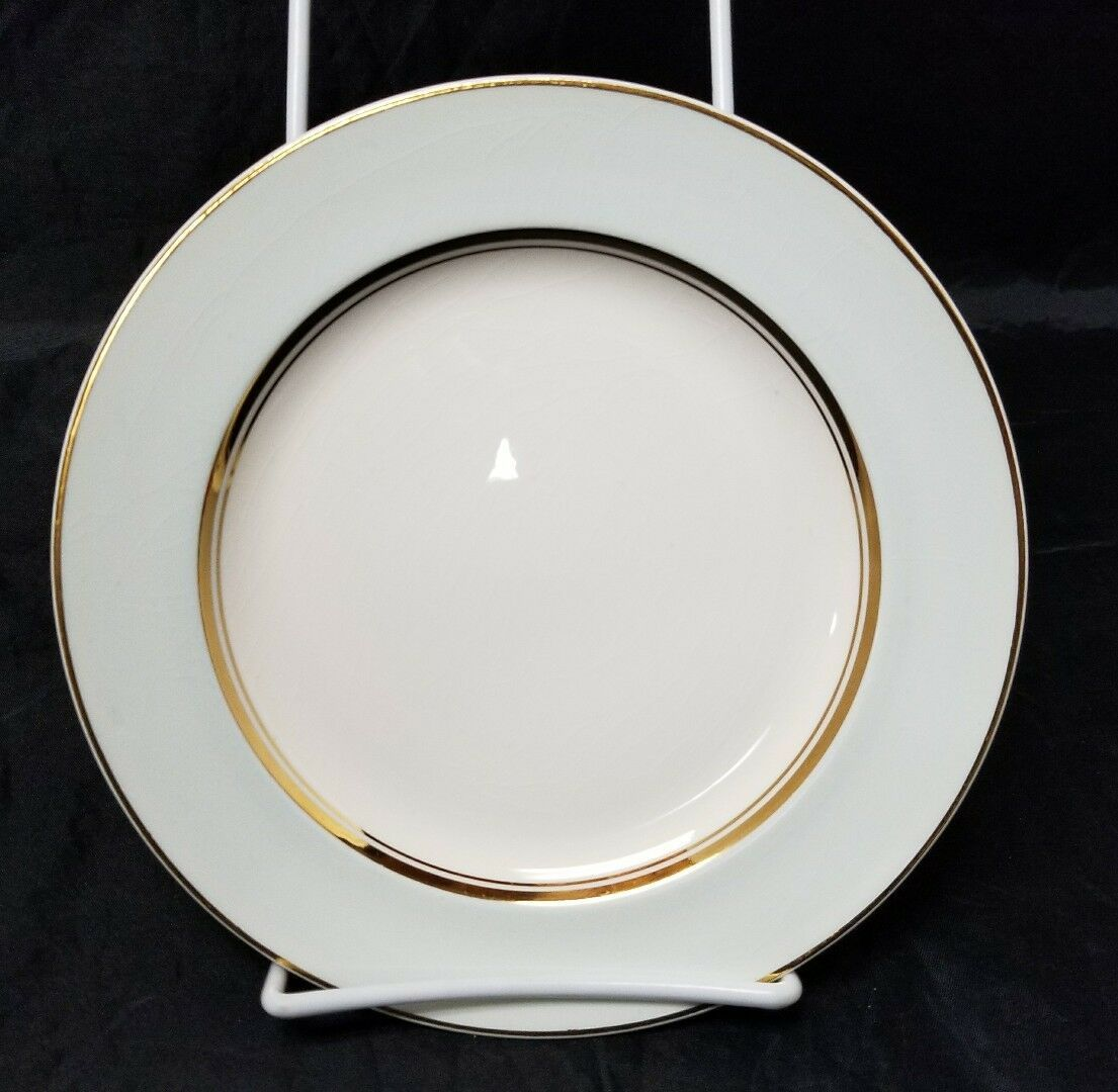 "French Saxon China Co Side Plates Set of 3 7.25"" White & Lgt Blue Pottery Salad image 3"