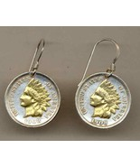 Indian Head Penny Coin Earrings, Gold/Silver, 1859-1909 - $77.37+