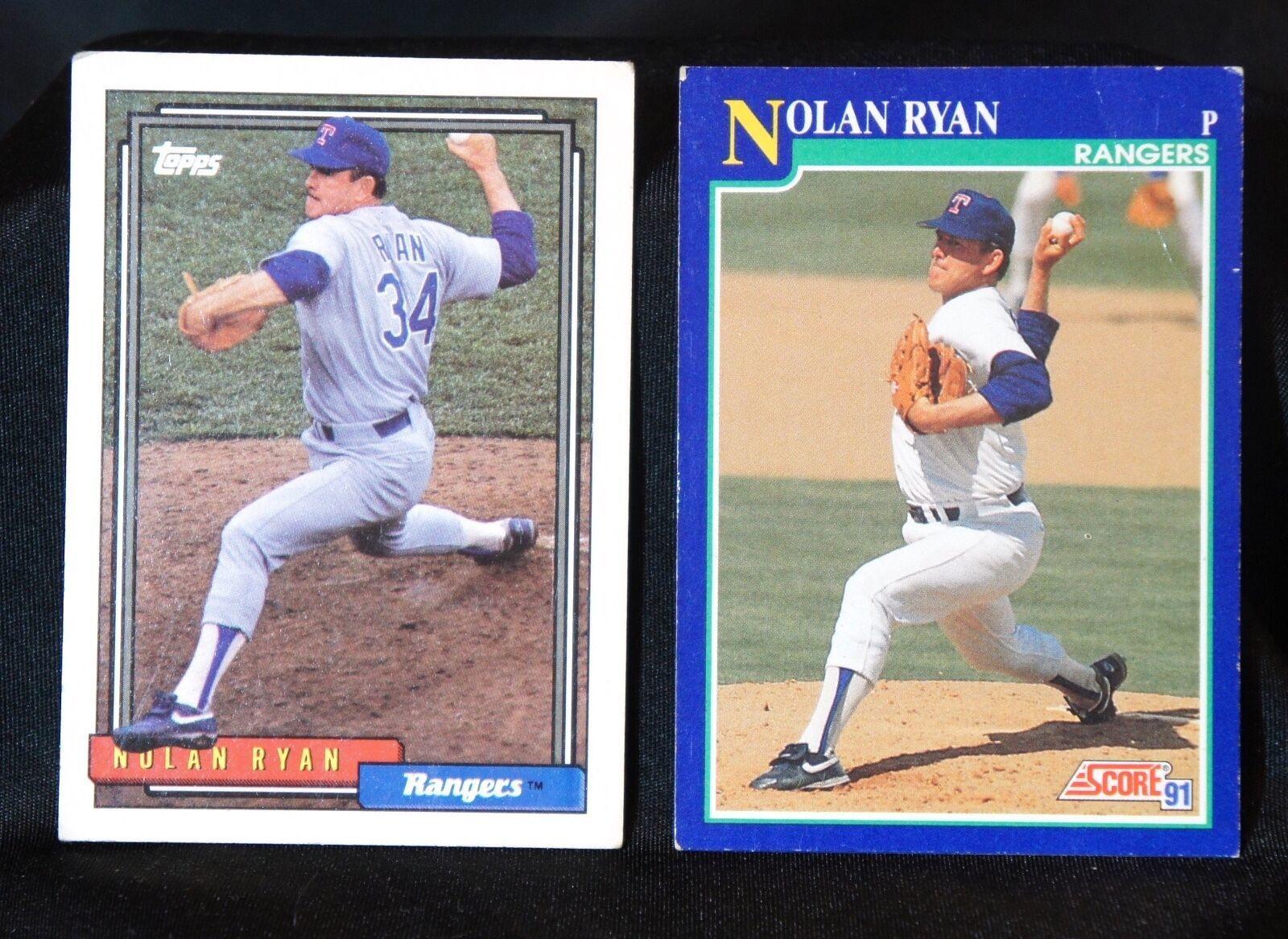 Nolan Ryan LOT of 2 baseball cards: Topps 1992, Score 1991, Texas Rangers