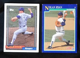 Nolan Ryan LOT of 2 baseball cards: Topps 1992, Score 1991, Texas Rangers - $6.93