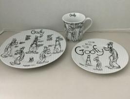 """DISNEY GOOFY 10"""" Dinner Plate, Salad Plate, & Coffee Mug SKETCHBOOK SKET... - $43.00"""