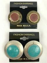 Enamel Earrings Lot Turquoise Tone Swirl Blue Brown Round Southwest Styl... - $10.25