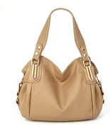 481b002 Hot Lady Leather textured muti-functions bag, pu leather,  35x26x12, kha - $62.10