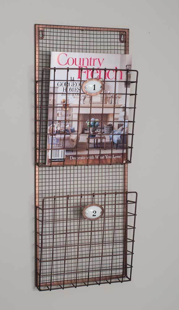 Hanging Magazine Wire Wall File Rack Holder Pocket Vintage Organizer Storage New