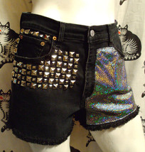 womens SZ 8 Levis 550 black jean shorts high waist holographic studs - $49.99
