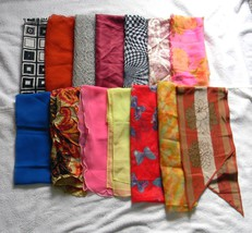 14 VINTAGE RECTANGULAR HEAD SCARF SCARVES WRAPS... - $36.58