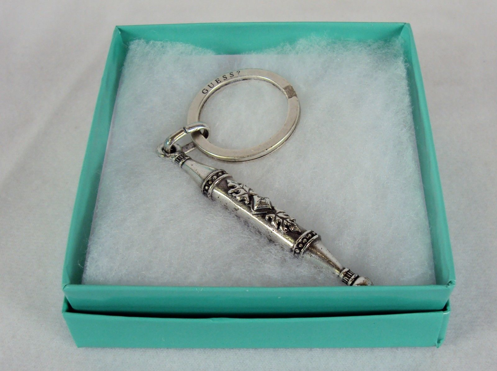 Stainless Steel Key Ring ~  GUESS Branded, Decorative Baton Shape ~ # 5230240 - $9.75