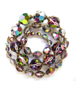Vintage Swarovski Crystal Dark Vitrail Big Faceted Beads Necklace  - $42.00