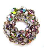 Vintage Swarovski Crystal Dark Vitrail Big Faceted Beads Long Necklace  - $42.00