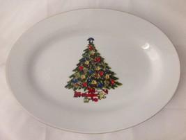 Jamestown China Christmas Treasure Oval Serving Platter Tree w Yellow Te... - $34.95