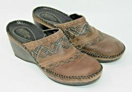Clarks Size 7.5 Brown Leather Artisan Collection Slide On Slides Comfort Career - $14.24