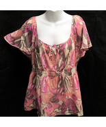 H&M Sz 16 Top Pink Gray Tropical Floral Semi-Sheer Flutter Cap Sleeve - $19.58