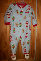 Carter Baby Clothes 6M-9M Footed Playsuit Blue First Christmas Holiday Sleeper - $12.34