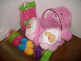 Dan Dee Easter Basket Kit Light Pink Plush DanDee Bunny Rabbit Grass Happy Eggs - $18.99