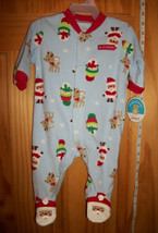 Carter Baby Clothes 0M-3M Footed Playsuit Blue 1st Christmas Holiday Sleeper New - $14.24