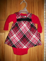 Carter Fashion Baby Clothes Newborn Girl Creeper Outfit Bow Red Plaid Ju... - $16.14