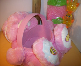 DanDee Easter Basket Kit Light Pink Plush Dan Dee Bunny Rabbit Grass Chick Eggs - $18.99