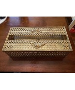Filigree tissue box holder 24 kt gold plated retro ornate Hollywood regency lid - $20.00